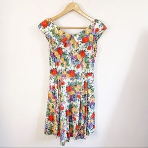 Vintage 90s Floral Skater Dress w Pockets Size S